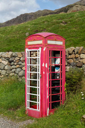 LAKE DISTRICT, ENGLAND - SEPTEMBER 4: Old British Telecom phone box being renovated as art project on September 4, 2012 Stock Photo - 15347291
