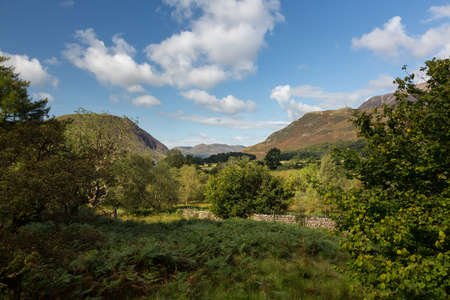 View towards Buttermere village in English Lake District Stock Photo