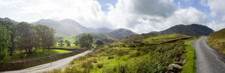 langdale pikes: Road meet near Wrynose Pass in English Lake District near Langdale valley