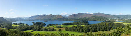 Panorama of Derwentwater in English Lake District from Castlehead viewpoint in early morning Stock Photo