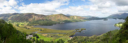 british weather: Panorama of Derwentwater in English Lake District from viewpoint in early morning