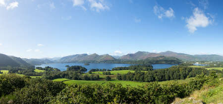 Panorama of Derwentwater in English Lake District from Castlehead viewpoint in early morning Stock Photo - 15350636