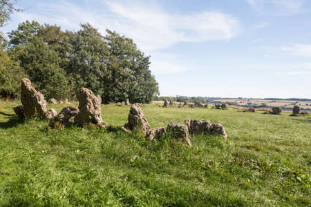 Prehistoric Rollright stone circle known as Kings Men in Cotswolds England photo