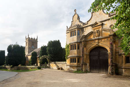 jacobean: Stanway House and St Peters Church near Stanton in Cotswolds Gloucestershire England