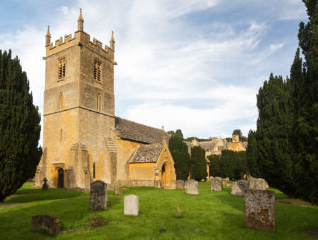 gloucestershire: Stanway House and St Peters Church near Stanton in Cotswolds Gloucestershire England