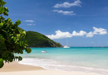 caribbean: Anse Marcel beach and boats on french side of St Martin Sint Maarten Caribbean