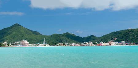 sint: Panorama of town of Philipsburg in Sint Maarten or Saint St. Martin in Caribbean
