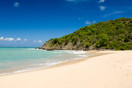 Happy Bay beach in St Martin Sint Maarten in Caribbean island photo