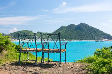 viewpoints: Seat at overlook viewpoint over Philipsburg in Sint Maarten St Martin Caribbean Stock Photo