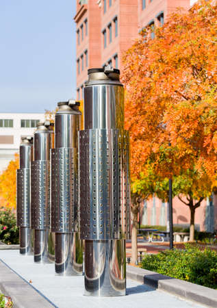 Stainless steel exhaust pipes outside new Department of Transportation building near Navy Yard Washington DC