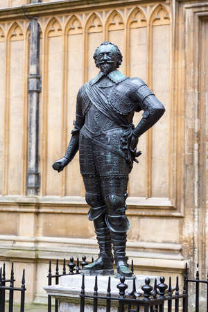Statue of Earl of Pembroke, founder of Pembroke College Oxford University in Bodleian library