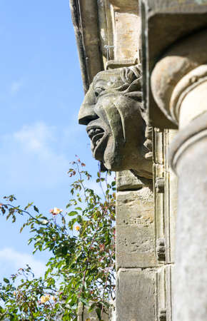 Gargoyle on old carved stone building in garden with rose bush Stock Photo - 16473543