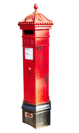 pillar box: Traditional red pillar box style post box created for Queen Victoria