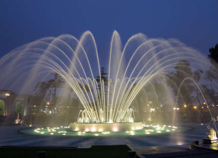 lima: Illuminated fountains at dusk in Magical Water Circuit in Reserve Park, Lima, Peru world record for largest fountains