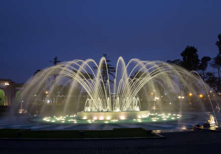 Illuminated fountains at dusk in Magical Water Circuit in Reserve Park, Lima, Peru world record for largest fountains photo