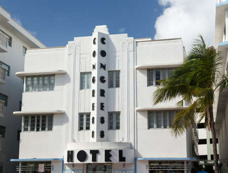 MIAMI BEACH, FLORIDA - 3 DECEMBER. The facade of art deco Congress Hotel in Miami Beach on December 3, 2012. The hotel designed by Henry Hohauser and opened in 1936 Stock Photo - 17002935