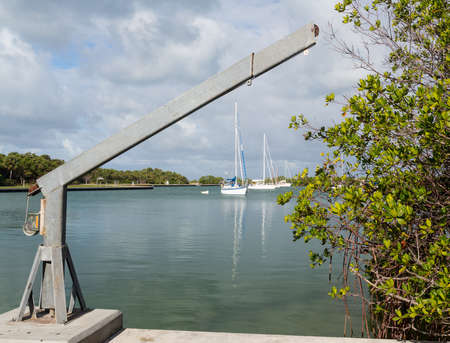 bill baggs: Yachts and boats moored in No Name Harbor in Bill Baggs Cape Florida State park Key Biscayne Miami