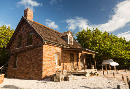 lighthouse keeper: Brick home of lighthouse keeper at Cape Florida Bill Baggs State Park Stock Photo