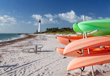 Cape Florida Lighthouse Bill Baggs State Park in Key Biscayne Florida with rental canoes kayaks Stock Photo - 16999417