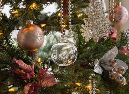 Macro shot of glass globe with tree on indoor christmas tree with decorations Stock Photo - 17070398