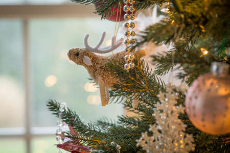 Macro shot of cute raindeer with antlers on indoor christmas tree with decorations Stock Photo - 17070390