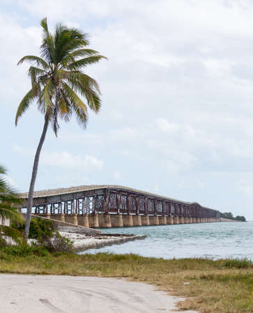 rail route: Old Bahia Honda rail bridge and heritage trail in Florida Keys by Route 1 Overseas Highway