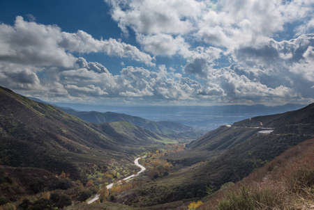 bernardino: View down valley towards San Bernadino in California from Route 18 Rim of the World Highway