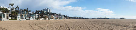 SANTA MONICA, CALIFORNIA - DECEMBER 13: Wide panorama of beachfront and beach of Santa Monica on December 13, 2012.