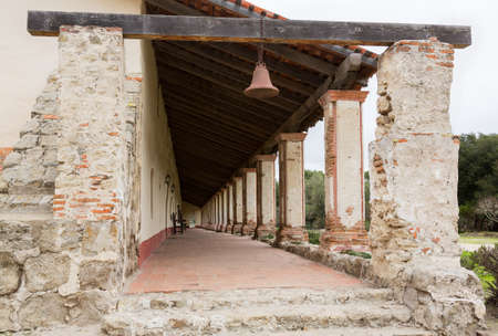 missionary: Long walkway at Mission La Purisima Conception in California State Park in Lompoc