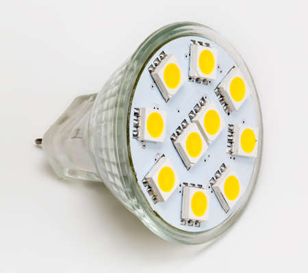 reflector: LED Reflector Light bulb and taken from above and isolated against white Stock Photo