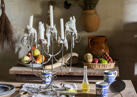 spanish house: Example of plantation kitchen dining table in traditional mission La Purisima in Lompoc California Stock Photo