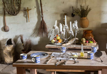 Example of plantation kitchen dining table in traditional mission La Purisima in Lompoc California photo