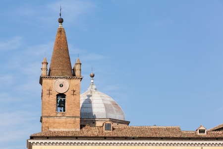 Roofs of two Roman churches on Piazza del Popolo including Santa Maria del Popolo Stock Photo - 17933618