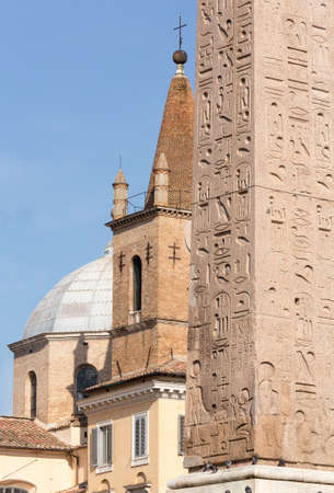 Egyptian Obelisk frames two church towers and domes in Piazza del Popolo in Rome Italy Stock Photo - 17933631