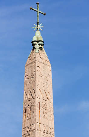 Egyptian Obelisk with star and cross in Piazza del Popolo in Rome Italy Stock Photo - 17933621
