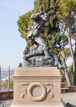 erected: Statue and monument to Italian patriots Cairoli brothers by Ercole Rosa erected in 1883 on Pincio Hill Rome Italy Stock Photo