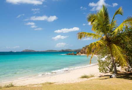 the virgin islands: Beach scene on island of St Thomas in US Virgin Islands USVI