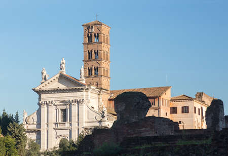 Details of remains and ruins in Ancient Rome Italy showing Santa Francesca Romana Stock Photo - 18152544