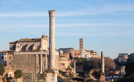 Details of remains and ruins in Ancient Rome Italy showing Temple of Antoninus and Faustina Stock Photo - 18152546