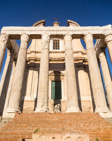 Details of remains and ruins in Ancient Rome Italy showing Temple of Antoninus and Faustina