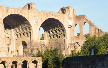 Details of remains and ruins in Ancient Rome Italy showing Basilica of Maxentius and Constantine Stock Photo - 18152675