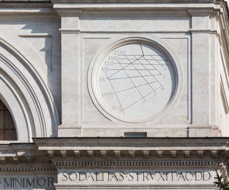 monti: Detail of sun dial on Trinita dei Monti church at top of Spanish Steps in Rome Italy Stock Photo