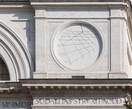 sun dial: Detail of sun dial on Trinita dei Monti church at top of Spanish Steps in Rome Italy Stock Photo