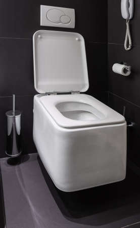 Details of modern square toilet wc in black tiled bathroom photo