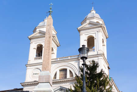 Detail of towers on Trinita dei Monti church at top of Spanish Steps in Rome Italy Stock Photo - 18152632