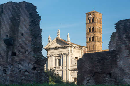 Details of remains and ruins in Ancient Rome Italy showing Santa Francesca Romana Stock Photo - 18234773