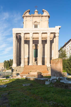 Details of remains and ruins in Ancient Rome Italy showing Temple of Antoninus and Faustina photo