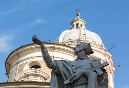 Detail of statue by dome on church of San Carlo al Corso in Rome Italy Stock Photo - 18246271