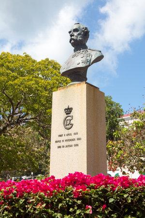 emancipation: Statue and bust of King Christian IX in Emancipation Park Charlotte Amalie St Thomas