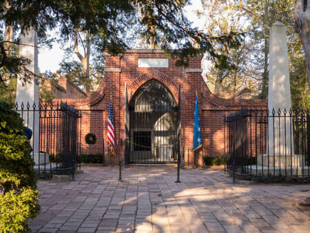President George Washington home at Mount Vernon in Virginia with detail of burial crypt
